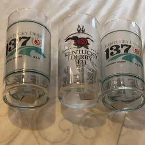 3 Kentucky Derby glasses